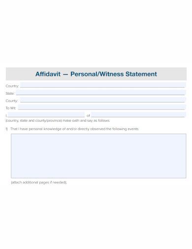 professional affidavit of witness