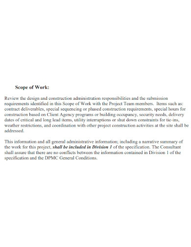 professional contract scope of work