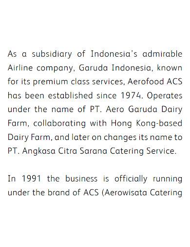 professional food company profile