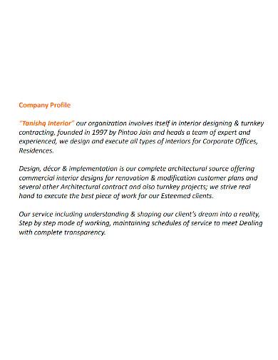 professional interior company profile