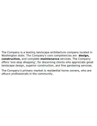 professional landscape company profile