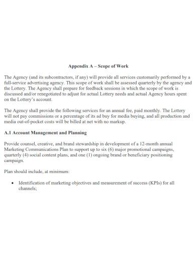 professional marketing scope of work