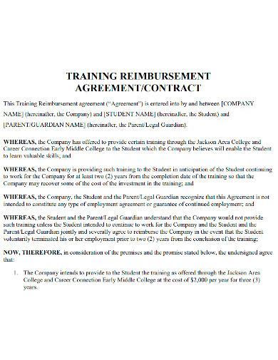 professional training reimbursement agreement