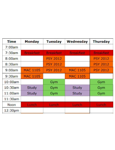 professional weekly study schedule