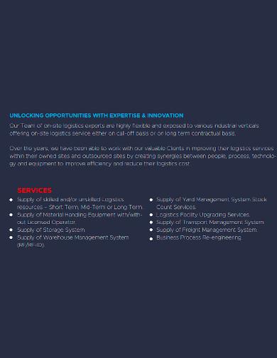 project logistics company profile