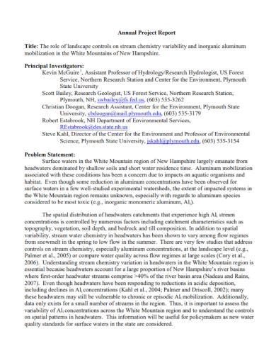 project report problem statement