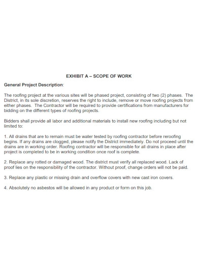 project roofing scope of work