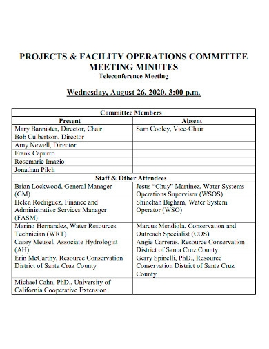 project and facility operations meeting minutes