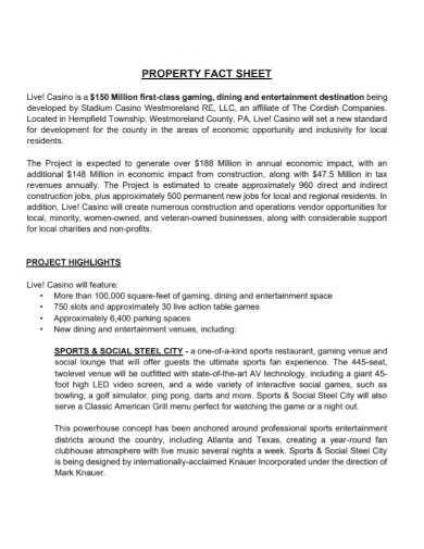 property project fact sheet