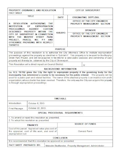 property resolution fact sheet
