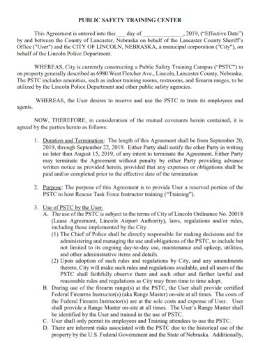 public safety training center agreement