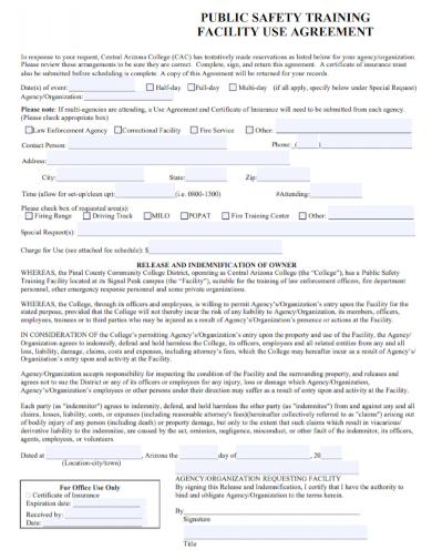 public safety training facility agreement