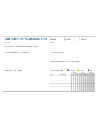 quality improvement problem solving report