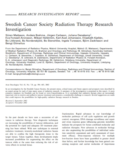 radiation therapy research investigation report