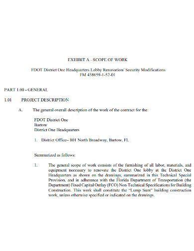 renovation scope of work format