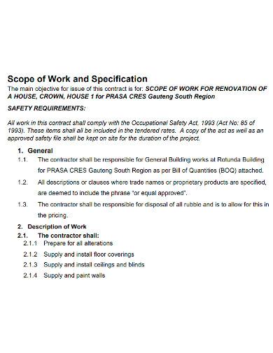renovation scope of work sample