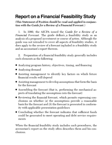 report of financial feasibility study