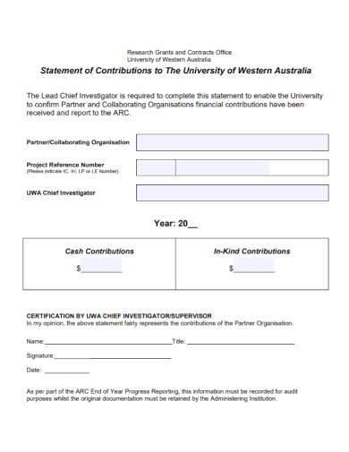 research grant contribution statement