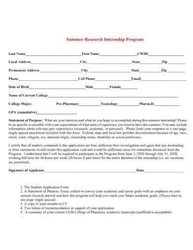 research internship statement of purpose