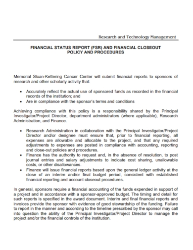 research management financial status report