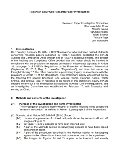 research paper investigation report