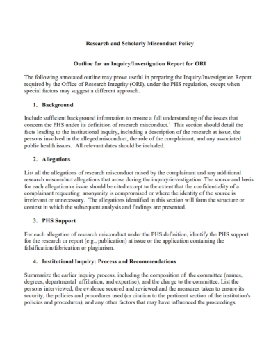 research policy investigation report
