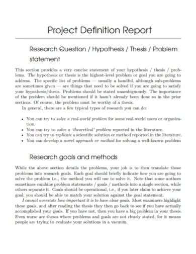 research report problem statement