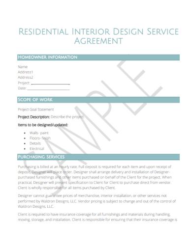 residential interior design scope of work