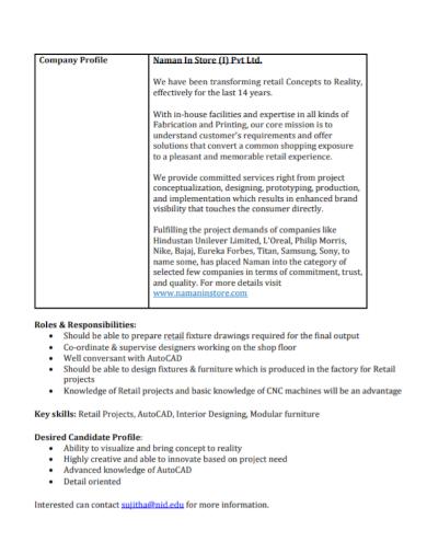 retail project company profile