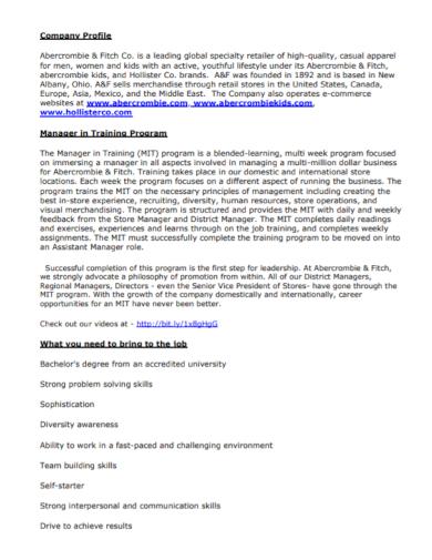 retail training company profile