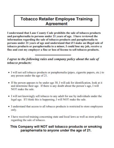 retailer employee training agreement
