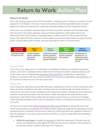return to work action control plan