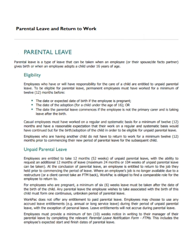 return to work after paternal leave