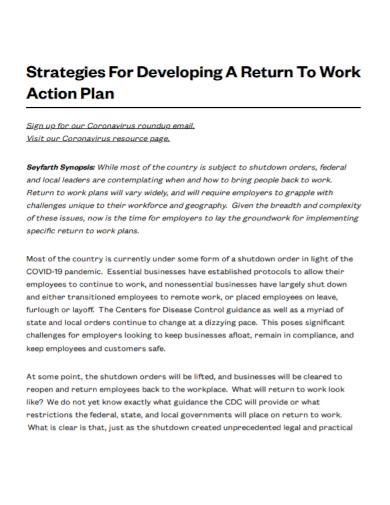 return to work development action plan
