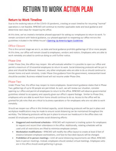 return to work timeline action plan