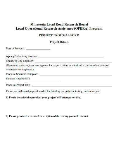 road project proposal form
