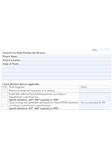 roofing scope of work format