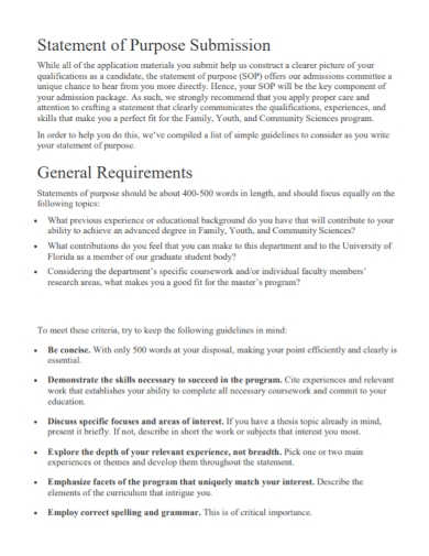 sop submission statement of purpose