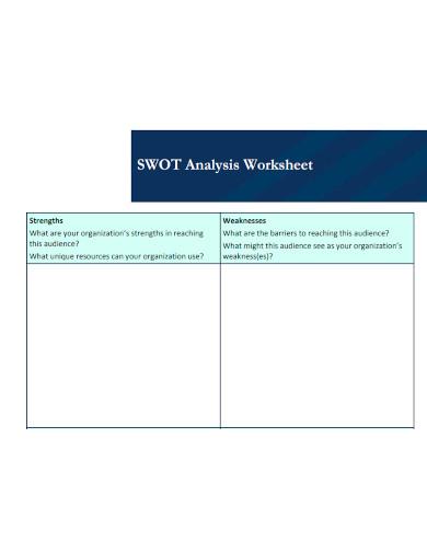 swot analysis worksheet sample