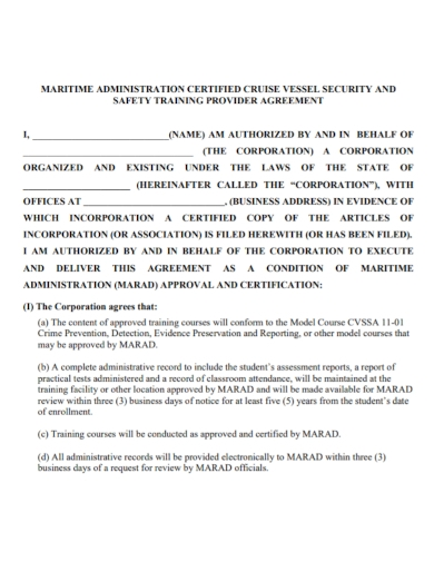 safety training provider agreement