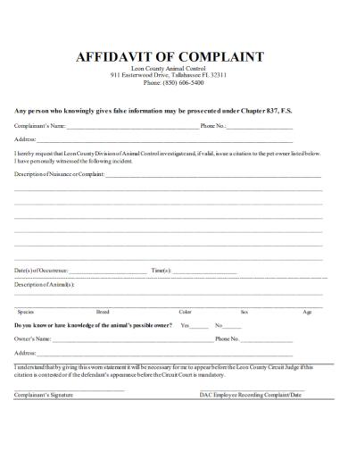 sample affidavit of complaint