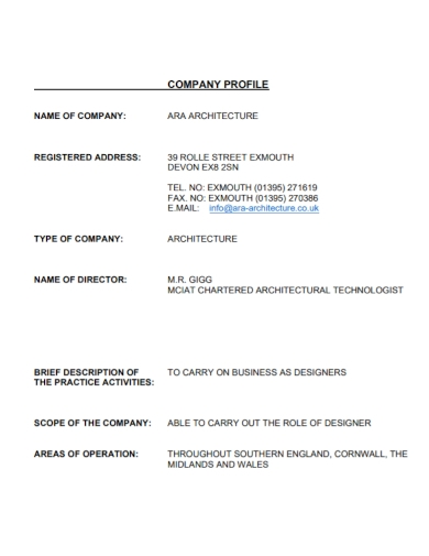 sample architecture company profile