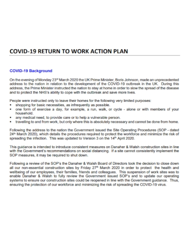 sample covid 19 return to work action plan