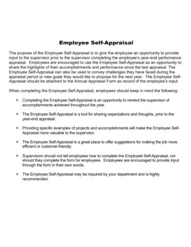 sample employee self appraisal