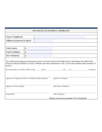 sample financial statement affidavit