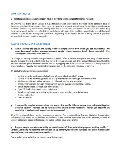 sample recruitment sources company profile