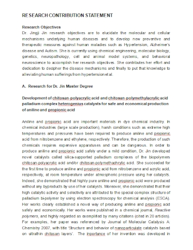 sample research contribution statement