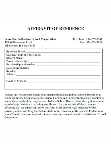 school affidavit of residence
