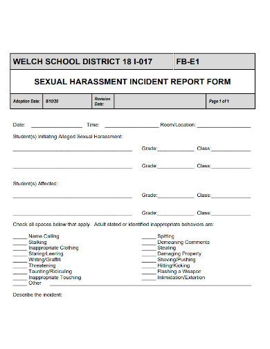 school harassment incident report