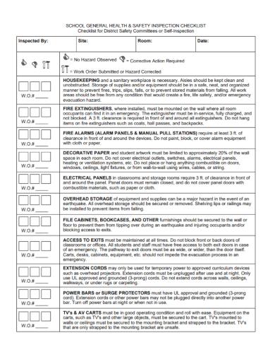 school health and safety checklist